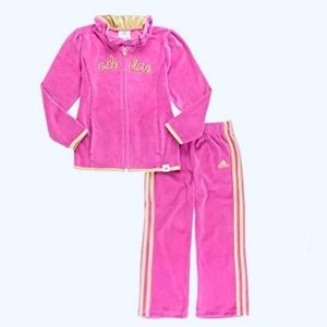 12M 24M,3T Black Tracksuit  hooded 2 piece 6//9M NEW Adidas Girls Velour Pink